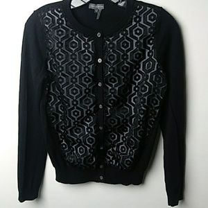 VINCI CAMUTO CARDIGAN TOP WITH SHEER OVER LAY DESI